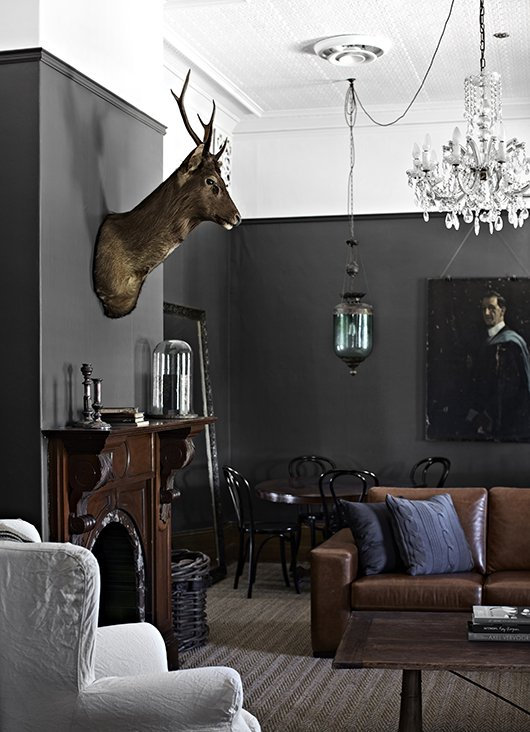 Moody Dark Parlor with grey walls