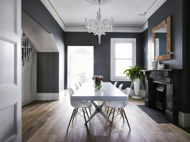 Grey dining room modern
