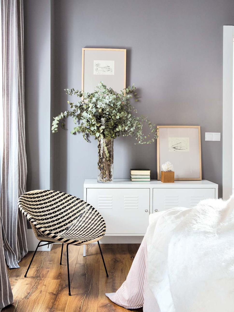feminine grey bedroom
