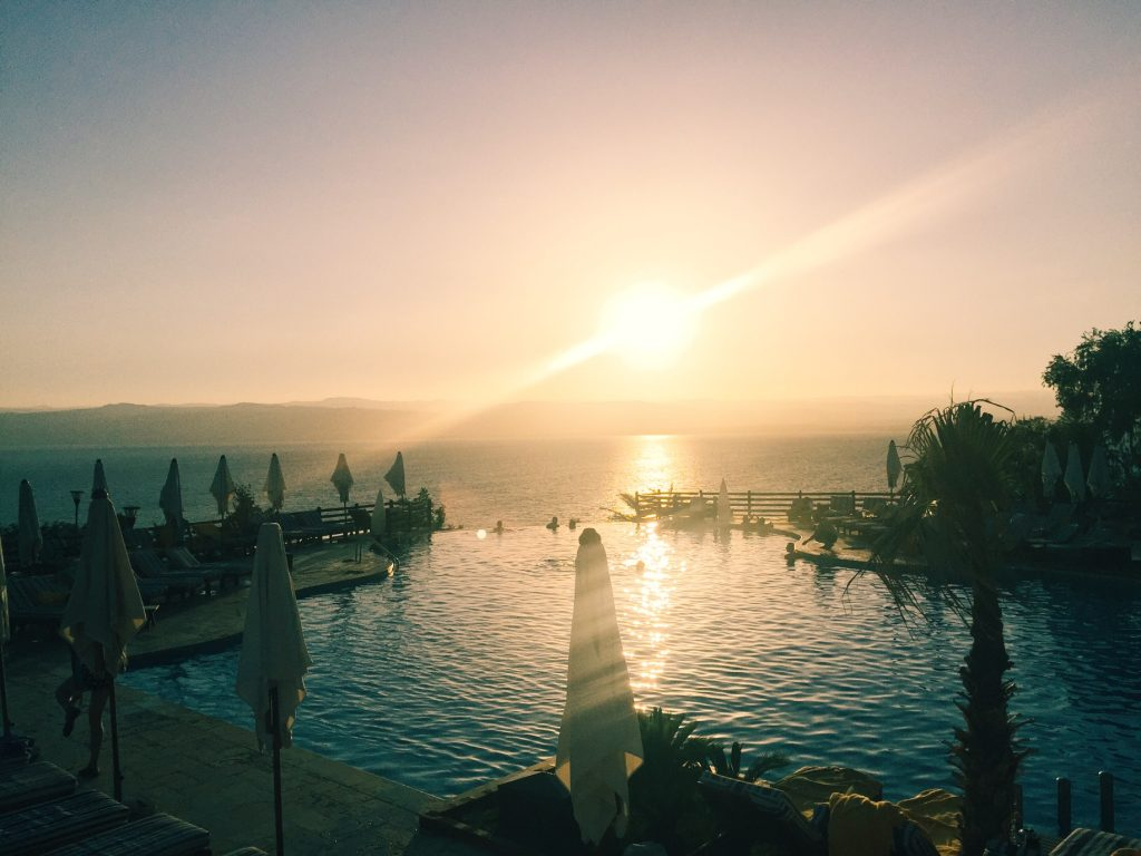 Dead Sea sunset over Israel from Jordan